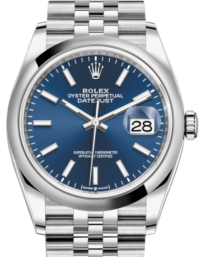 Men's Rolex Datejust 36 Stainless Steel Blue Index Dial & Smooth Domed Bezel Jubilee Bracelet 126200 - BRAND NEW