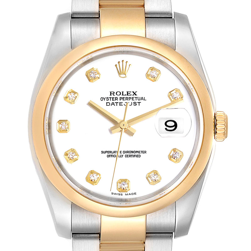 Rolex Datejust 36 Steel 18K Yellow Gold Diamond Dial Men's Watch 116203 PRE-OWNED