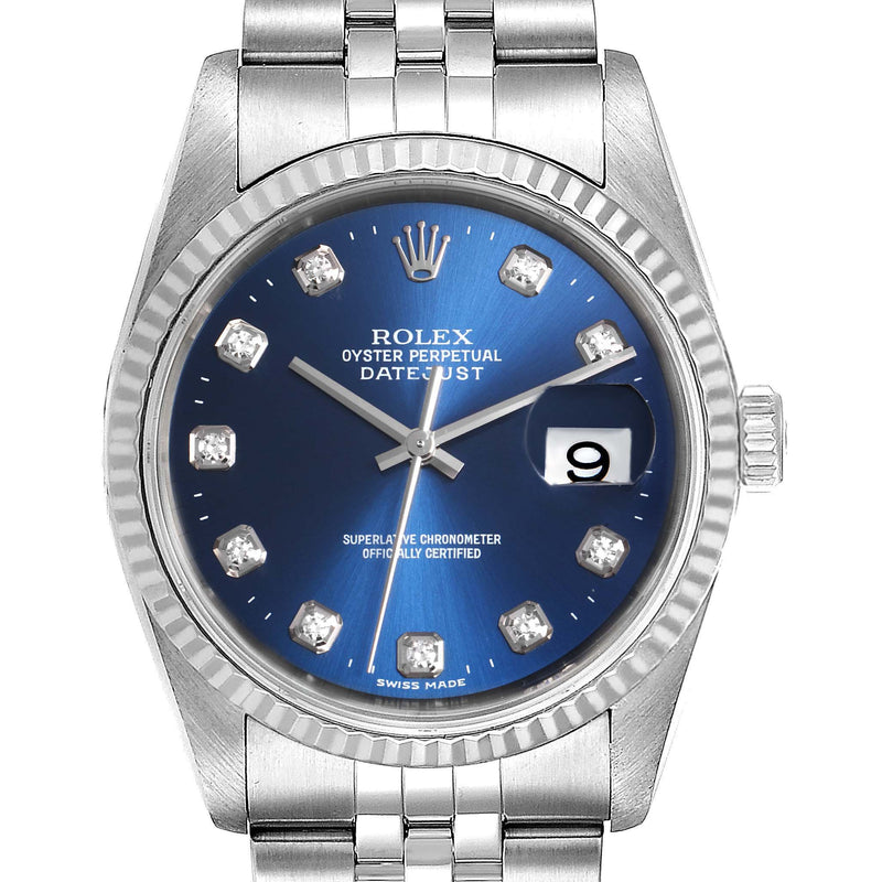Men's Rolex Datejust 36 Steel White Gold Blue Diamond Dial Men's Watch 16234 PRE-OWNED