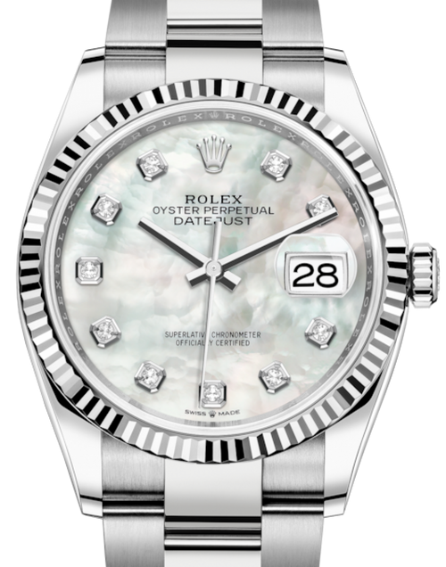 Men's Rolex Datejust 36 White Gold/Steel White Mother of Pearl Diamond Dial & Fluted Bezel Oyster Bracelet 126234 - BRAND NEW - Global Timez