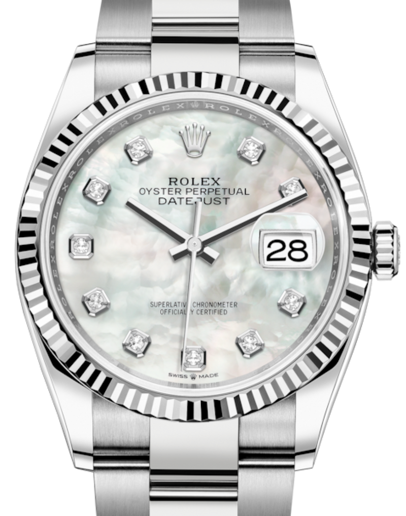 Men's Rolex Datejust 36 White Gold/Steel White Mother of Pearl Diamond Dial & Fluted Bezel Oyster Bracelet 126234 - BRAND NEW