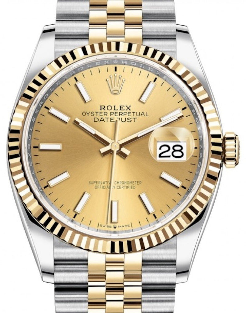 Ladies Rolex Datejust 36 Yellow Gold/Steel Champagne Index Dial & Fluted Bezel Jubilee Bracelet 126233 - BRAND NEW