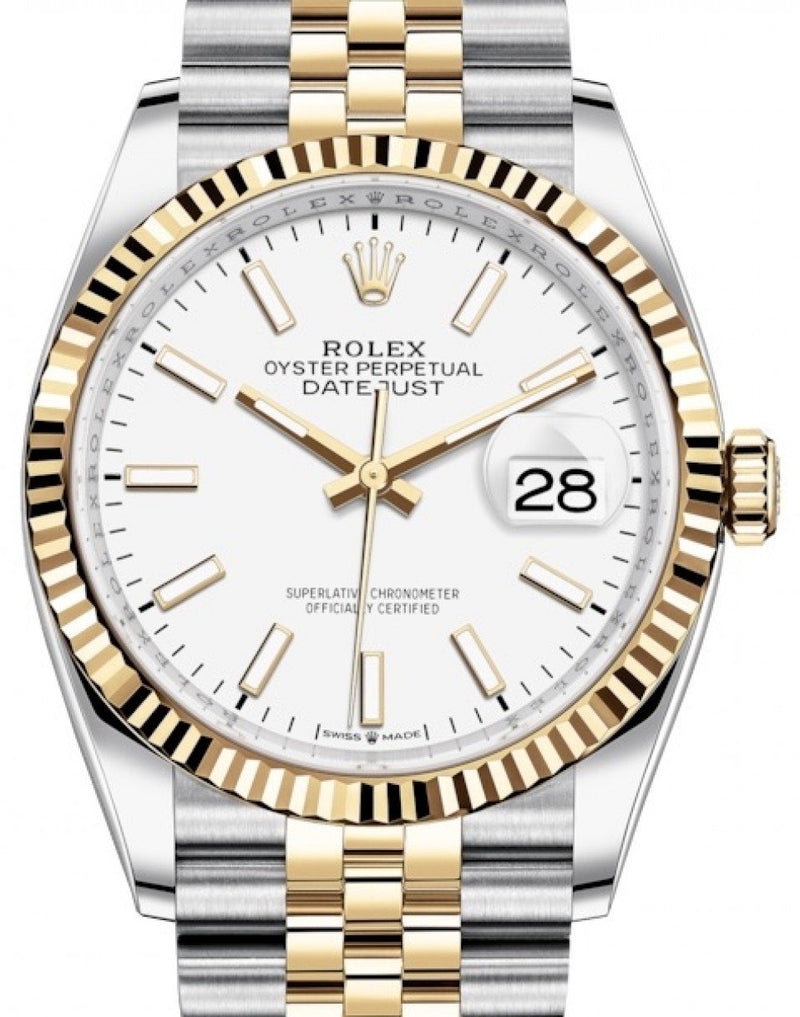 Ladies Rolex Datejust 36 Yellow Gold/Steel White Index Dial & Fluted Bezel Jubilee Bracelet 126233 - BRAND NEW