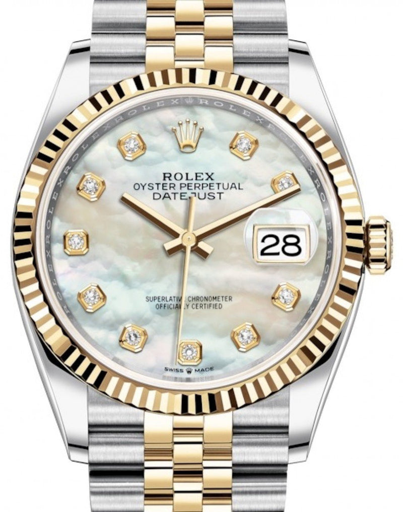 Ladies Rolex Datejust 36 Yellow Gold/Steel White Mother of Pearl Diamond Dial & Fluted Bezel Jubilee Bracelet 126233 - BRAND NEW