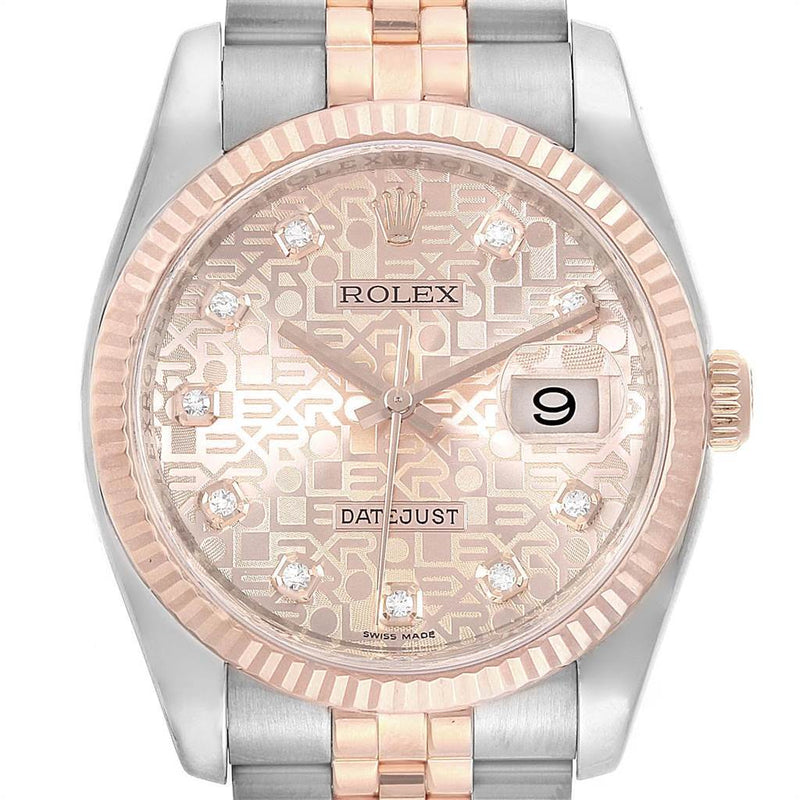 Men's Rolex Datejust 36mm Dial Steel Rose Gold Diamond Watch 116231 PRE-OWNED