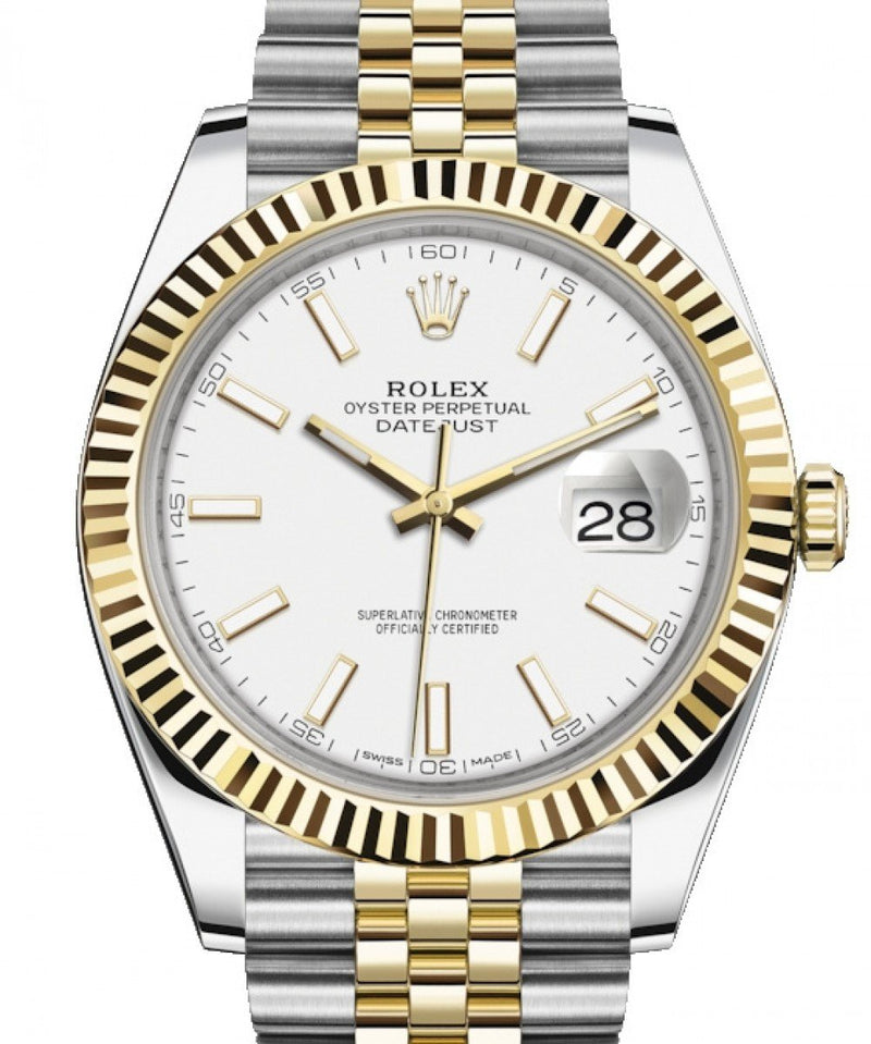 Men's Rolex Datejust 41 Yellow Gold/Steel White Index Dial Fluted Bezel Jubilee Bracelet 126333 - BRAND NEW