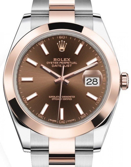 Men's Rolex Datejust 41 Rose Gold/Steel Chocolate Index Dial Smooth Bezel Oyster Bracelet 126301 - BRAND NEW - Global Timez