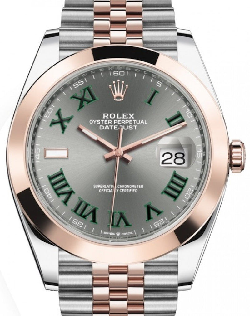 Men's Rolex Datejust 41 Rose Gold/Steel Slate Roman Dial Smooth Bezel Jubilee Bracelet 126301 - BRAND NEW