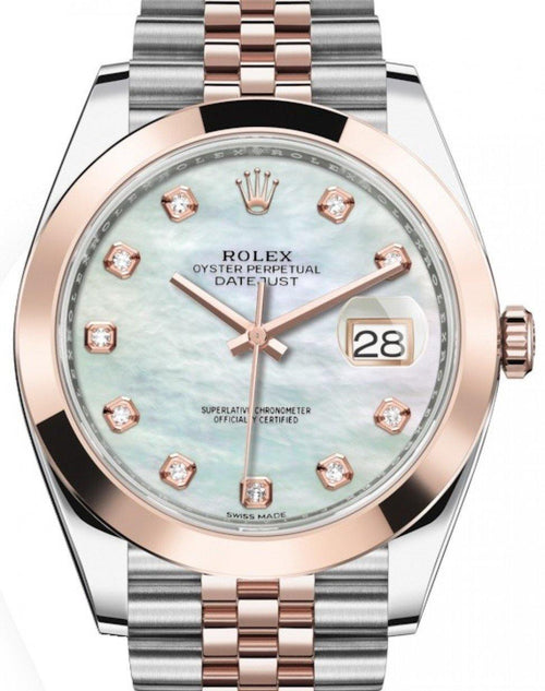 Men's Rolex Datejust 41 Rose Gold/Steel White Mother of Pearl Diamond Dial Smooth Bezel Jubilee Bracelet 126301 - BRAND NEW - Global Timez