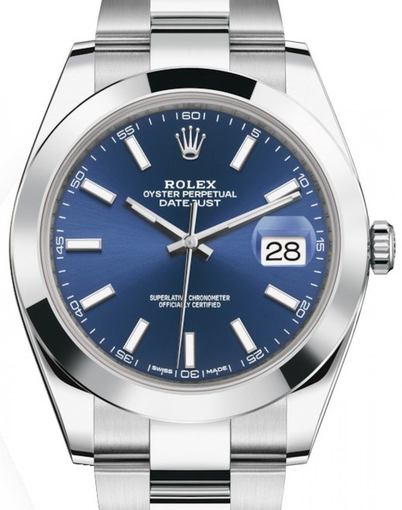 Men's Rolex Datejust 41 Stainless Steel Blue Index Dial Smooth Bezel Oyster Bracelet 126300 - BRAND NEW