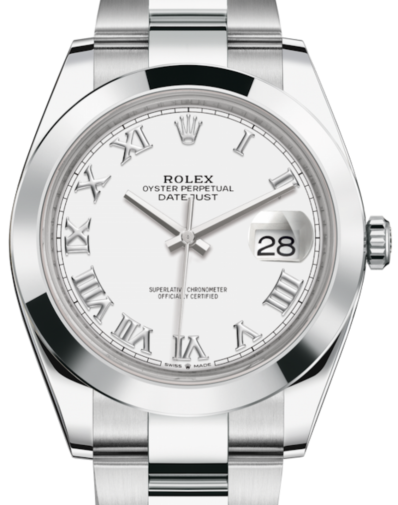 Men's Rolex Datejust 41 Stainless Steel White Roman Dial Smooth Bezel Oyster Bracelet 126300 - BRAND NEW