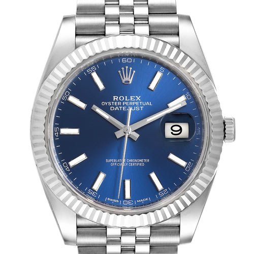 Men's Rolex Datejust 41 Steel White Gold Blue Dial Steel Men's Watch 126334 PRE-OWNED - Global Timez