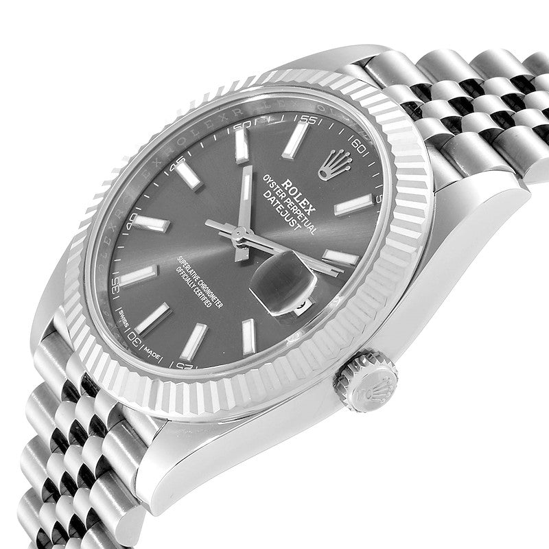 Men's Rolex Datejust 41 Steel White Gold Rhodium Dial Watch 126334 Box Card PRE-OWNED