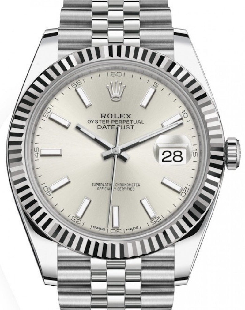 Men's Rolex Datejust 41 White Gold/Steel Silver Index Dial Fluted Bezel Jubilee Bracelet 126334 - BRAND NEW