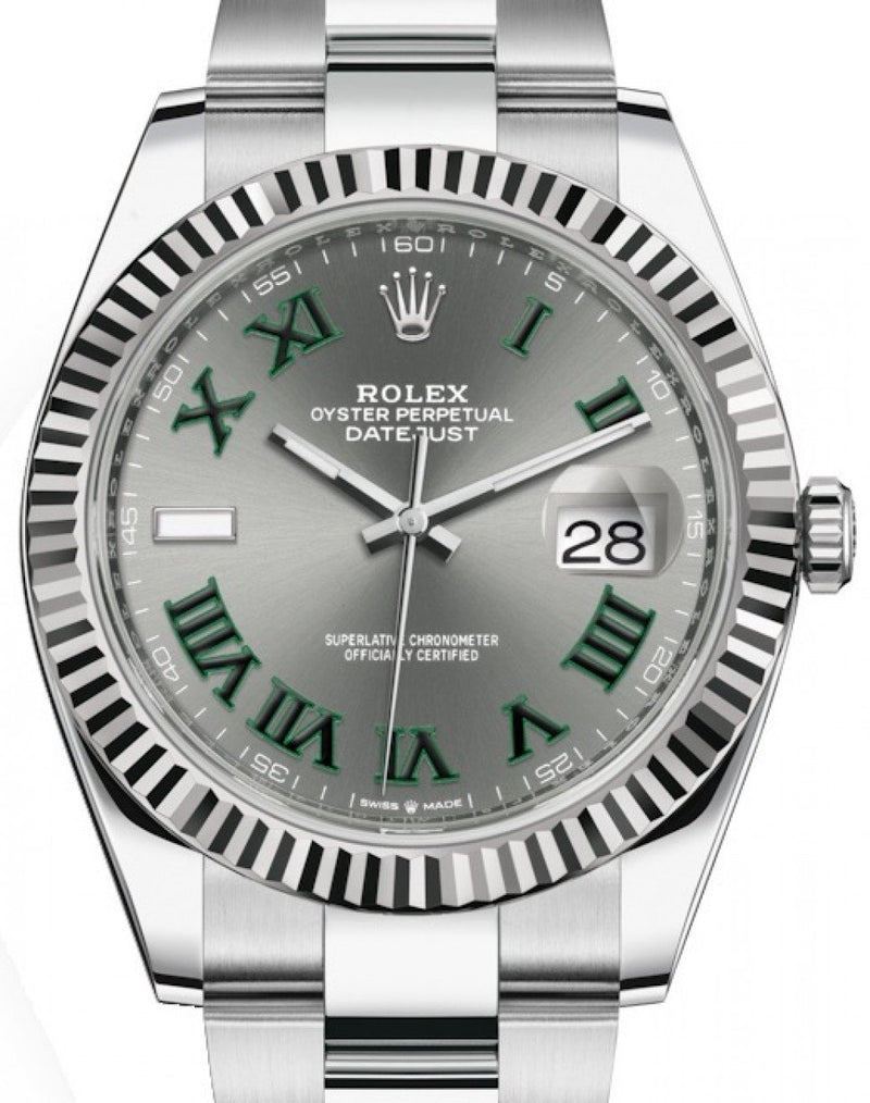 Men's Rolex Datejust 41 White Gold/Steel Slate Roman Dial Fluted Bezel Oyster Bracelet 126334 - BRAND NEW