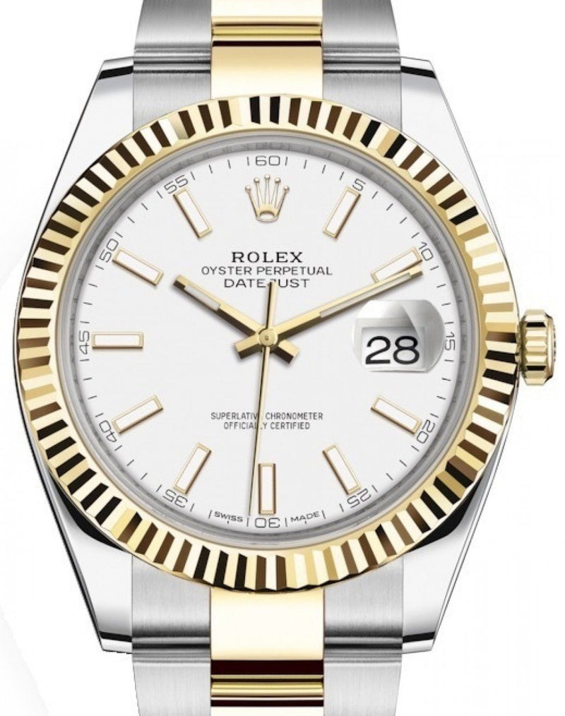 Men's Rolex Datejust 41 Yellow Gold/Steel White Index Dial Fluted Bezel Oyster Bracelet 126333 - BRAND NEW