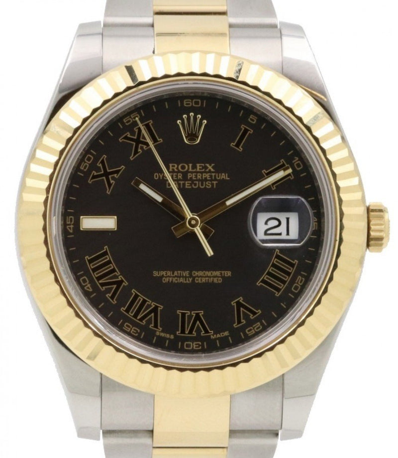 Men's Rolex Datejust II Yellow Gold & Steel Black Roman Dial with Index 9 o' Clock Two-Tone Oyster Bracelet 116333 - PRE-OWNED