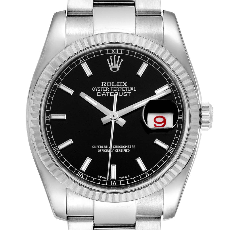 Men's Rolex Datejust Steel White Gold Black Dial Men's Watch 116234 Box Card PRE-OWNED