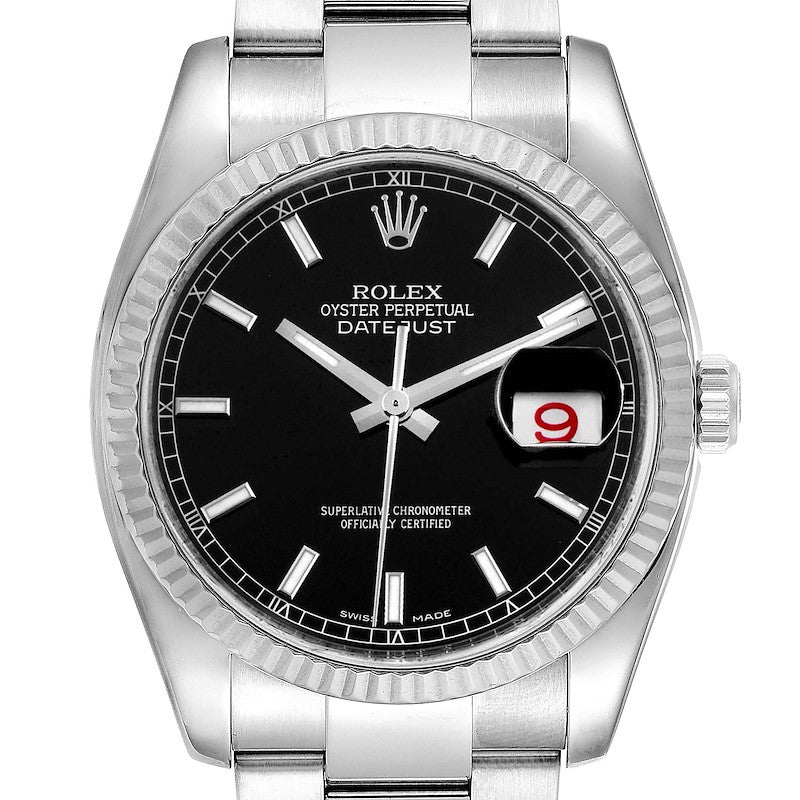 Rolex Datejust Steel 18K White Gold Black Dial Men's Watch 116234 PRE-OWNED