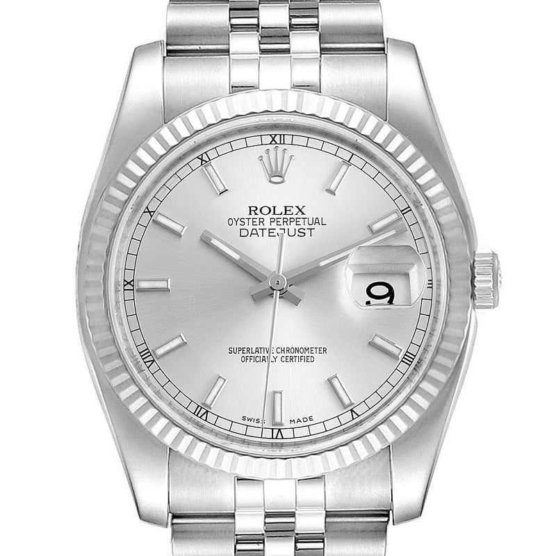 Men's Rolex Datejust Steel White Gold Silver Dial Men's Watch 116234 Box Card PRE-OWNED