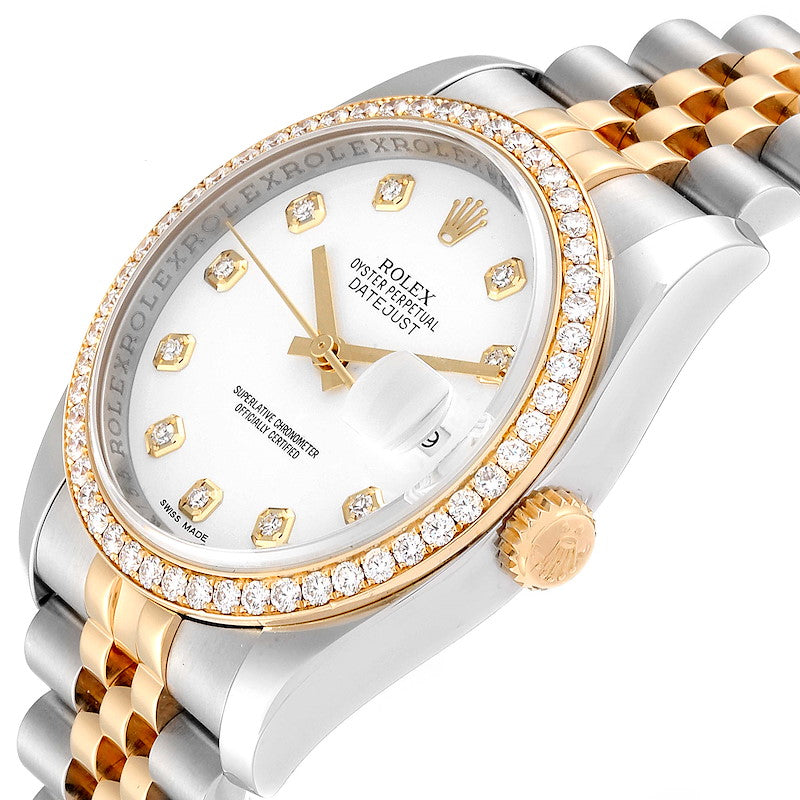 Rolex Datejust Steel Yellow Gold White Diamond Dial Men's Watch 116243 PRE-OWNED