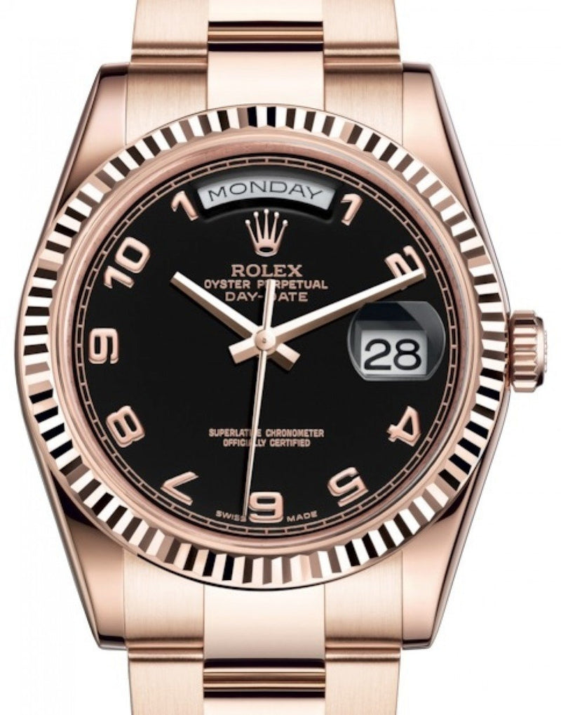Men's Rolex Day-Date 36 Rose Gold Black Arabic Dial & Fluted Bezel Oyster Bracelet 118235 - BRAND NEW