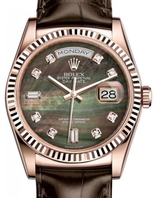 Men's Rolex Day-Date 36 Rose Gold Black Mother of Pearl Diamond Dial & Fluted Bezel Tobacco Leather Strap 118135 - BRAND NEW - Global Timez