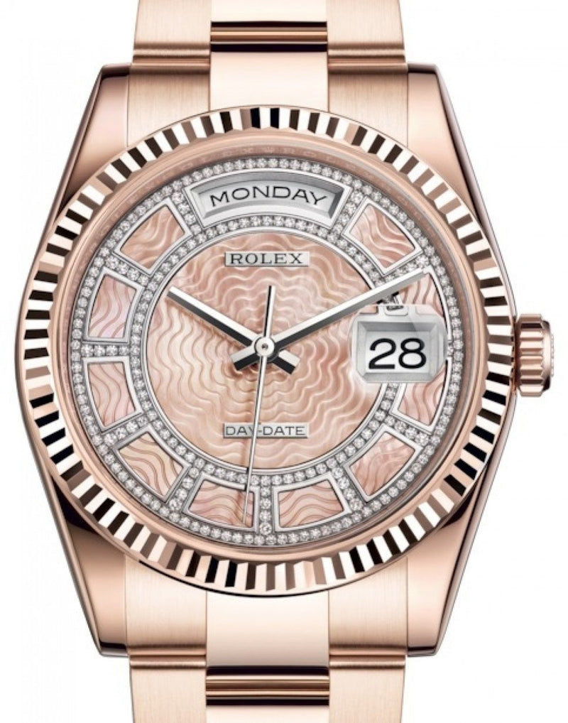 Men's Rolex Day-Date 36 Rose Gold Carousel of Pink Mother of Pearl Diamond Dial & Fluted Bezel Oyster Bracelet 118235 - BRAND NEW