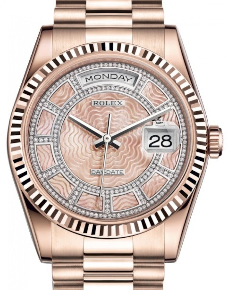 Men's Rolex Day-Date 36 Rose Gold Carousel of Pink Mother of Pearl Diamond Dial & Fluted Bezel President Bracelet 118235 - BRAND NEW