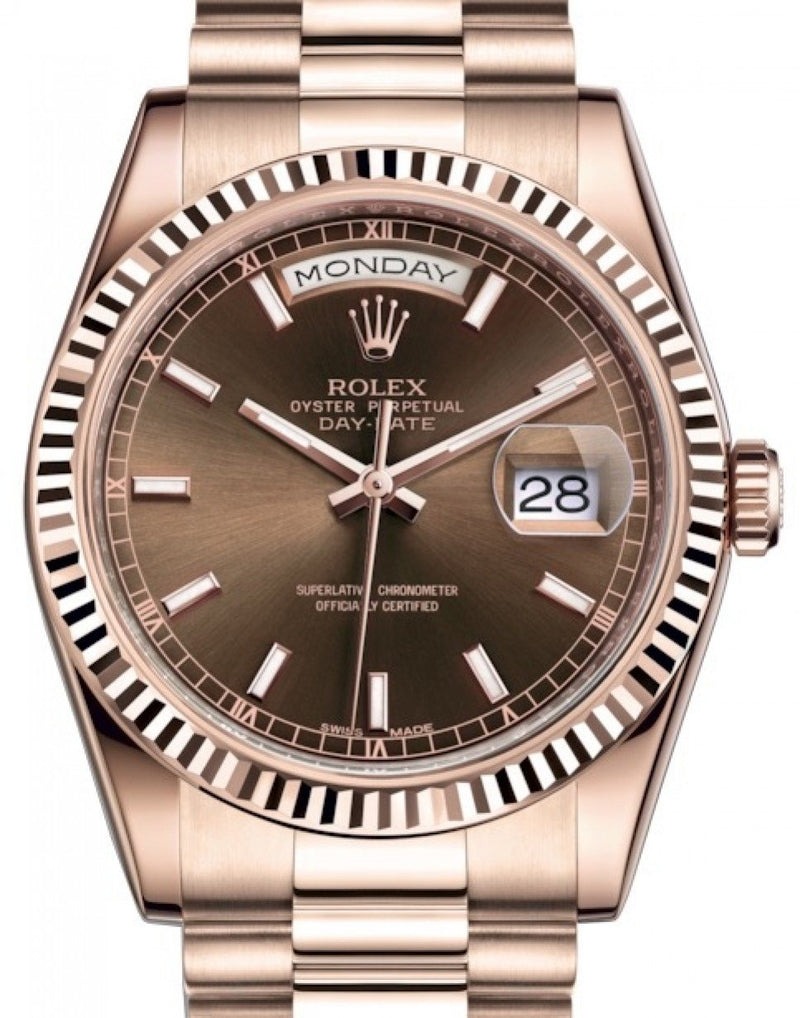 Men's Rolex Day-Date 36 Rose Gold Chocolate Index Dial & Fluted Bezel President Bracelet 118235 - BRAND NEW