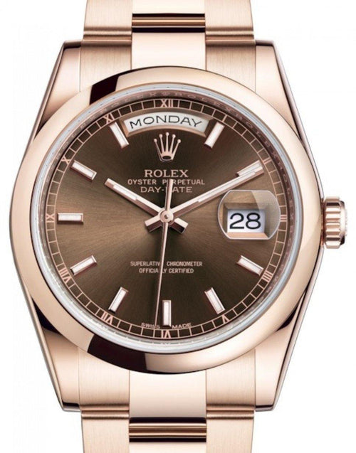 Men's Rolex Day-Date 36 Rose Gold Chocolate Index Dial & Smooth Domed Bezel Oyster Bracelet 118205 - BRAND NEW - Global Timez