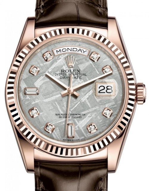 Men's Rolex Day-Date 36 Rose Gold Meteorite Diamond Dial & Fluted Bezel Tobacco Leather Strap 118135 - BRAND NEW - Global Timez