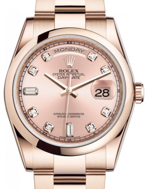 Men's Rolex Day-Date 36 Rose Gold Pink Diamond Dial & Smooth Domed Bezel Oyster Bracelet 118205 - BRAND NEW - Global Timez