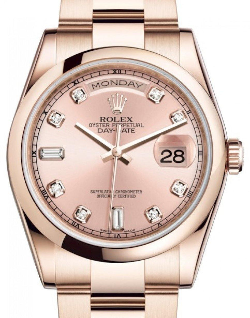 Men's Rolex Day-Date 36 Rose Gold Pink Diamond Dial & Smooth Domed Bezel Oyster Bracelet 118205 - BRAND NEW