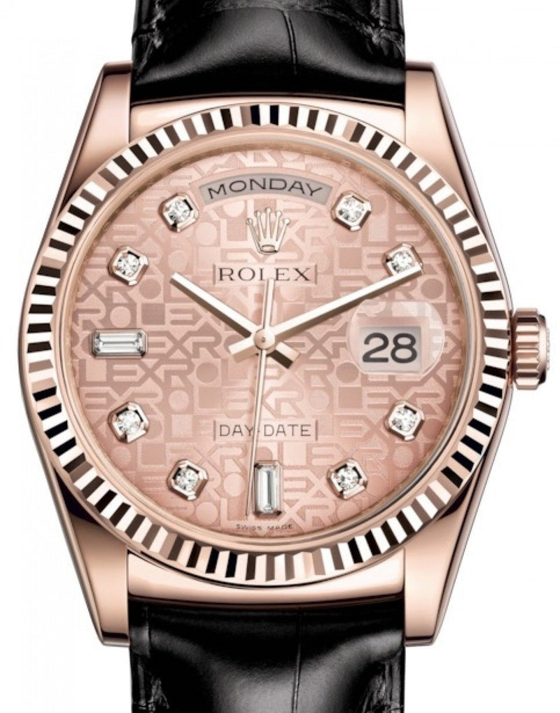 Men's Rolex Day-Date 36 Rose Gold Pink Jubilee Diamond Dial & Fluted Bezel Black Leather Strap 118135 - BRAND NEW