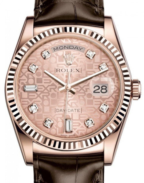 Men's Rolex Day-Date 36 Rose Gold Pink Jubilee Diamond Dial & Fluted Bezel Tobacco Leather Strap 118135 - BRAND NEW - Global Timez