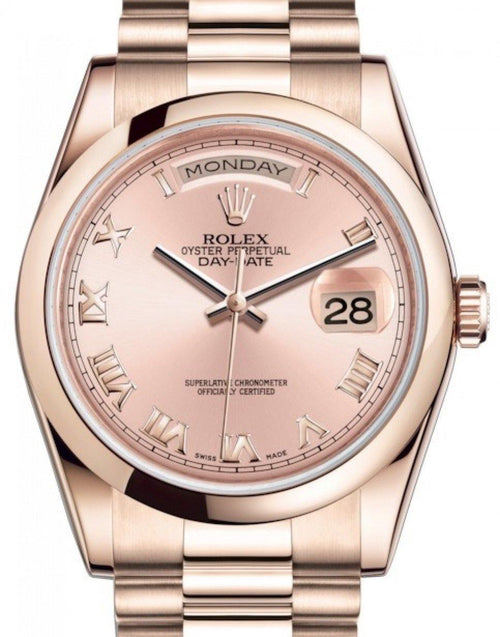 Men's Rolex Day-Date 36 Rose Gold Pink Roman Dial & Smooth Domed Bezel President Bracelet 118205 - BRAND NEW - Global Timez
