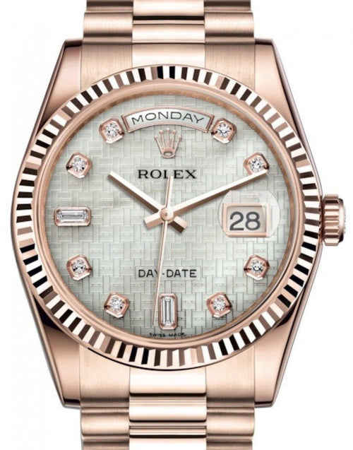 Men's Rolex Day-Date 36 Rose Gold White Mother of Pearl with Oxford Motif Diamond Dial & Fluted Bezel President Bracelet 118235 - BRAND NEW - Global Timez