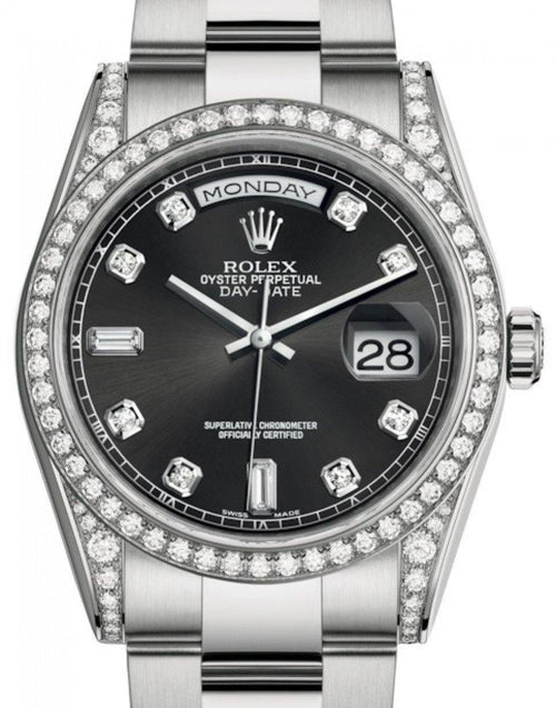 Men's Rolex Day-Date 36 White Gold Black Diamond Dial & Diamond Set Case & Bezel Oyster Bracelet 118389 - BRAND NEW - Global Timez