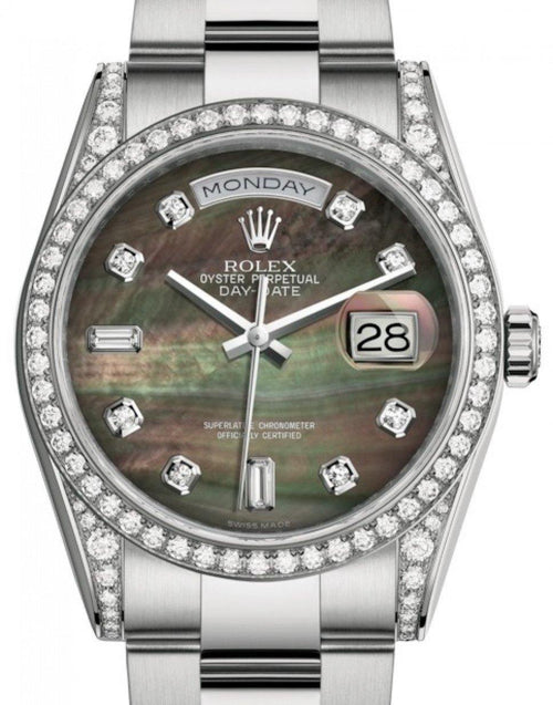Men's Rolex Day-Date 36 White Gold Black Mother of Pearl Diamond Dial & Diamond Set Case & Bezel Oyster Bracelet 118389 - BRAND NEW - Global Timez