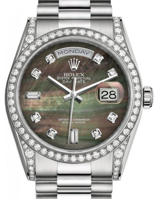 Men's Rolex Day-Date 36 White Gold Black Mother of Pearl Diamond Dial & Diamond Set Case & Bezel President Bracelet 118389 - BRAND NEW - Global Timez