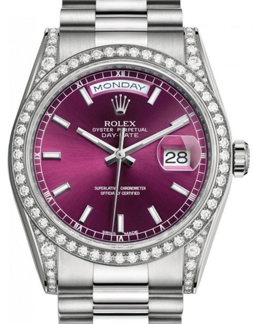 Men's Rolex Day-Date 36 White Gold Cherry Index Dial & Diamond Set Case & Bezel President Bracelet 118389 - BRAND NEW - Global Timez