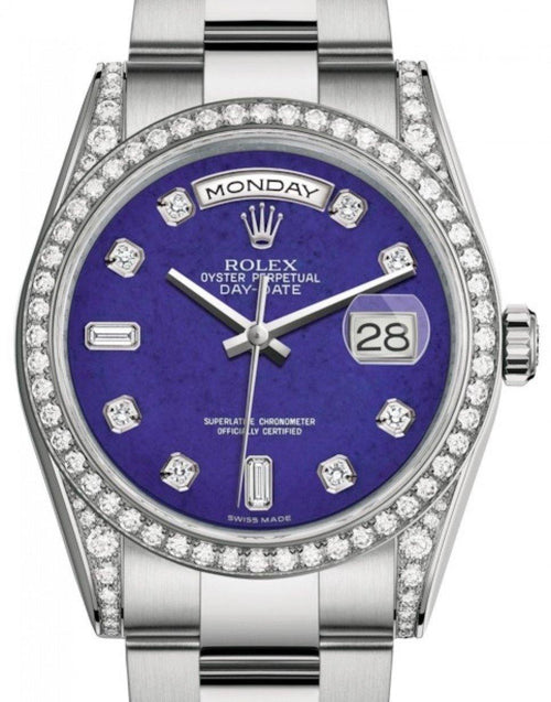 Men's Rolex Day-Date 36 White Gold Lapis Lazuli Diamond Dial & Diamond Set Case & Bezel Oyster Bracelet 118389 - BRAND NEW - Global Timez