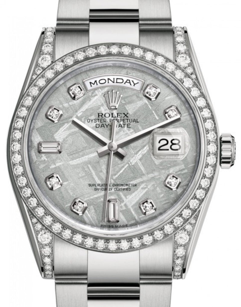 Men's Rolex Day-Date 36 White Gold Meteorite Diamond Dial & Diamond Set Case & Bezel Oyster Bracelet 118389 - BRAND NEW