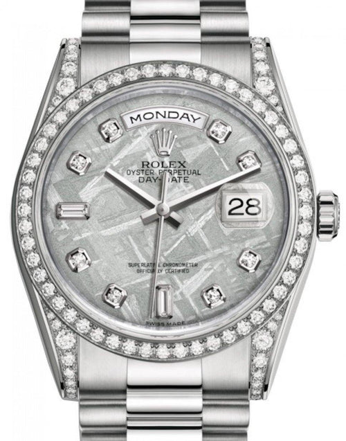 Men's Rolex Day-Date 36 White Gold Meteorite Diamond Dial & Diamond Set Case & Bezel President Bracelet 118389 - BRAND NEW - Global Timez