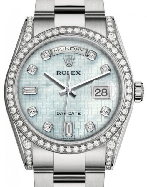 Men's Rolex Day-Date 36 White Gold Platinum Mother of Pearl with Oxford Motif Diamond Dial & Diamond Set Case & Bezel Oyster Bracelet 118389 - BRAND NEW - Global Timez