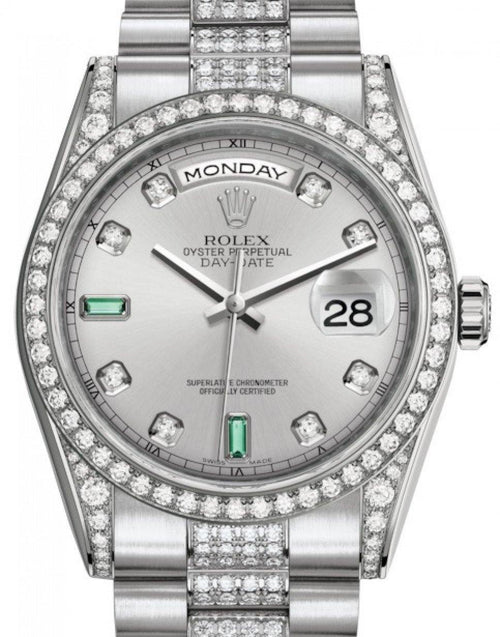Men's Rolex Day-Date 36 White Gold Rhodium Diamond & Emeralds Dial & Diamond Set Case & Bezel Diamond Set President Bracelet 118389 - BRAND NEW - Global Timez