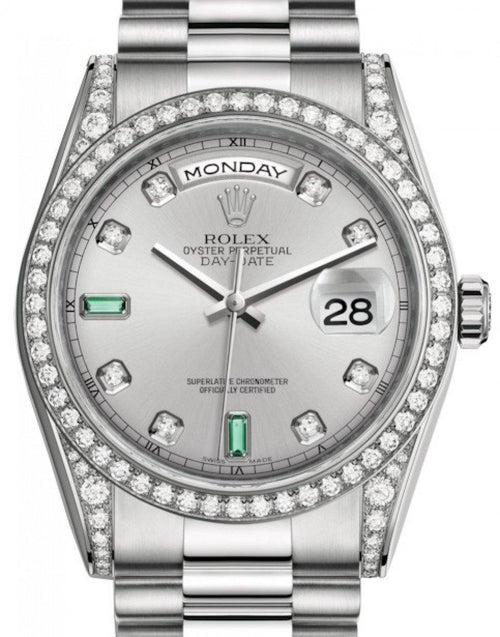 Men's Rolex Day-Date 36 White Gold Rhodium Diamond & Emeralds Dial & Diamond Set Case & Bezel President Bracelet 118389 - BRAND NEW - Global Timez