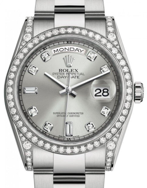 Men's Rolex Day-Date 36 White Gold Silver Diamond Dial & Diamond Set Case & Bezel Oyster Bracelet 118389 - BRAND NEW - Global Timez