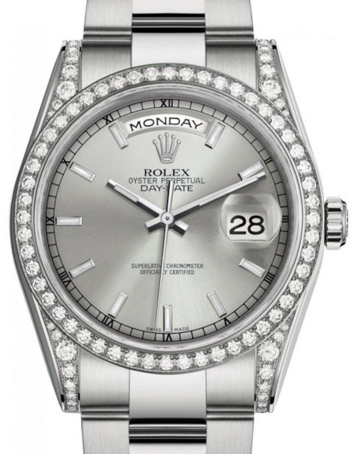 Men's Rolex Day-Date 36 White Gold Silver Index Dial & Diamond Set Case & Bezel Oyster Bracelet 118389 - BRAND NEW - Global Timez